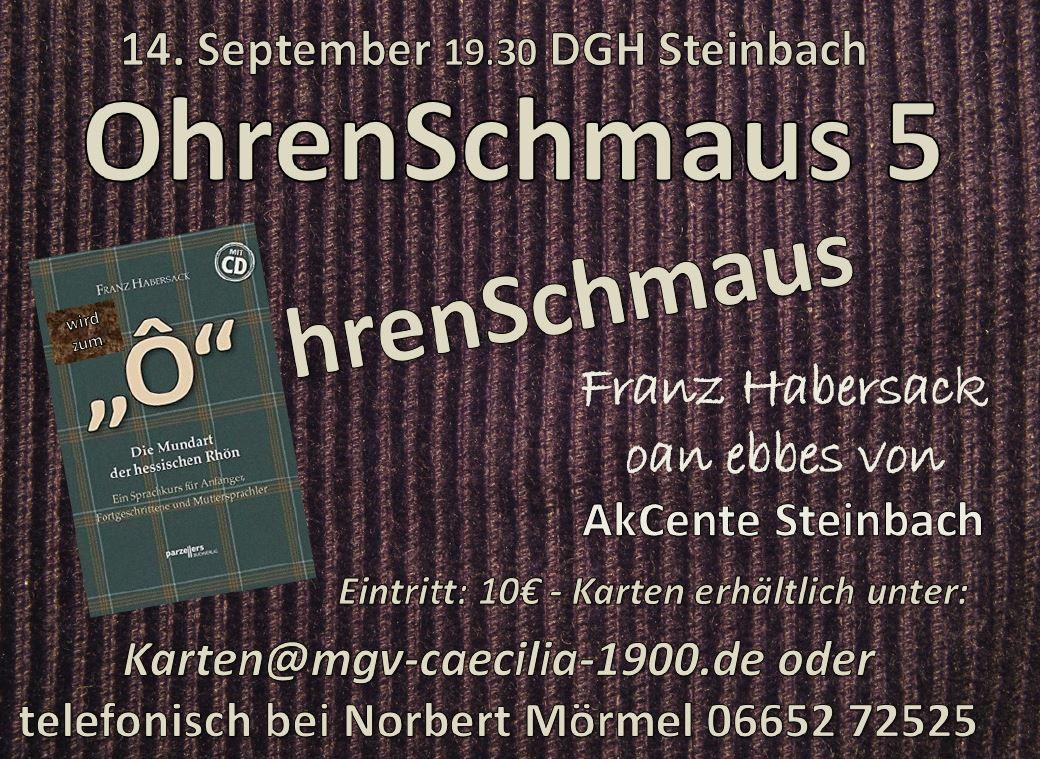 Karten telefonisch bei Norbert Mörmel 06652 72525 erhältlich